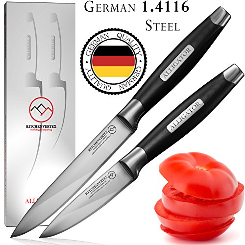 Paring Utility Knife Set - Ultra Sharp Kitchen Knives with German 1.4116 Stainless Steel Blades - ALLIGATOR Series - Chef's Quality - by KITCHENVERTEX