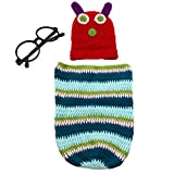 TINKSKY Caterpillar Style Baby Infant Newborn Handmade Crochet Beanie Hat, Clothes, Black Glasses Frame Baby Photograph Props Set for 3-6 Months Babies