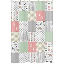 Coral, Mint and Grey Woodsy Animal Polka Dot Arrow Girls Kids Bathroom Fabric Bath Shower Curtain