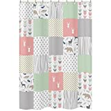 Sweet Jojo Designs Coral, Mint and Grey Woodsy Animal Polka Dot Arrow Girls Kids Bathroom Fabric Bath Shower Curtain