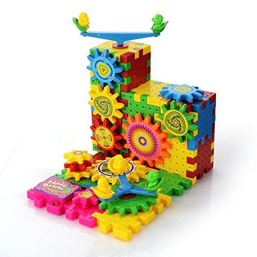 81PCS Blocs de Construction Jouet DIY Roue Dent/ée Dr/ôles Briques Engrenages /Électrique Puzzle 3D Motoris/é Plastique Jouets Educatifs Cadeaux Motoris/é Spinning Gears pour Enfants Gar/çons Filles