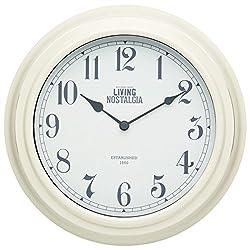 Kitchencraft Living Nostalgia Analogue Wall Clock, Antique Cream, 25.5cm (10
