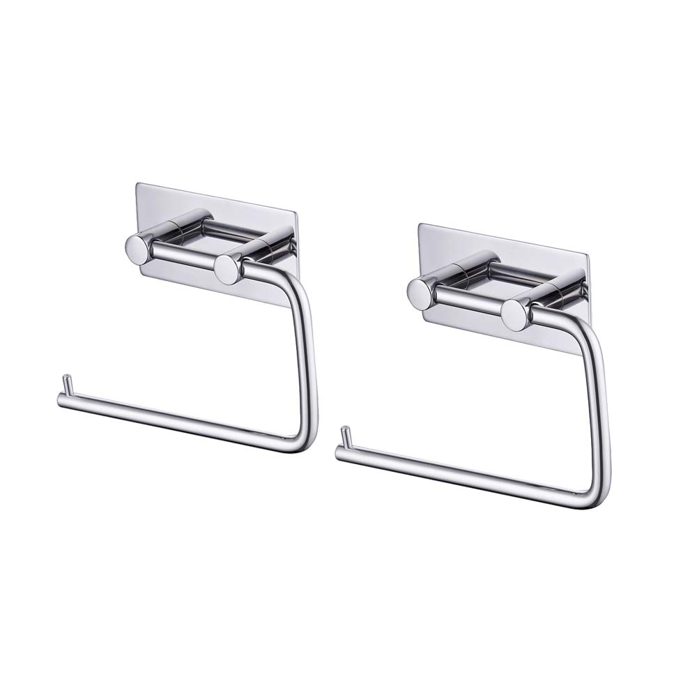 Kes Toilet Paper Holder 3M Self Adhesive, Polished Stainless Steel, 2 Pcs Pack, A7070-1-P2