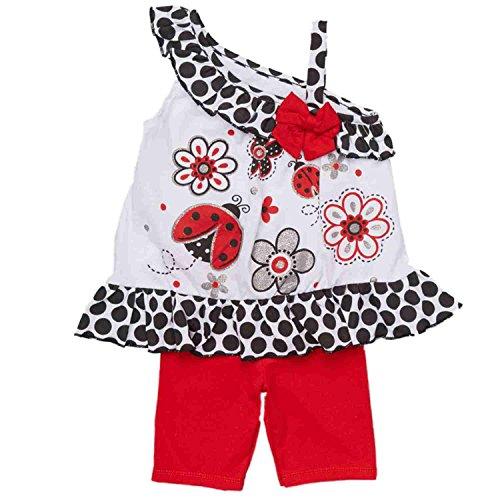 Little Girls Daisy Ladybug Flower Shirt & Leggings Set 2 Pc Polka Dot Outfit 5 - Dot White Polka Ladybug
