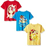 Disney Toddler Girls' Beauty and the Beast 3-Pack Short Sleeve T-Shirts, Yellow/Turquoise/Red, 2T