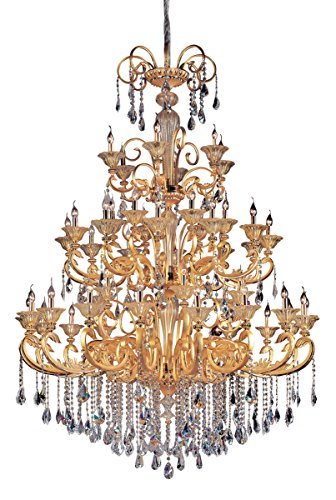 Chandeliers 48 Light Bulb Fixture with Two-Tone Gold/24K Finish Candelabra Bulb 87
