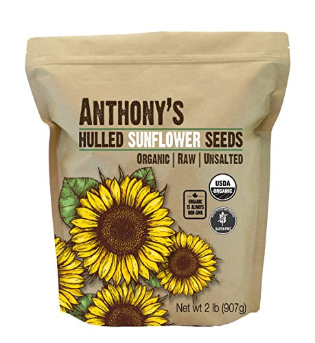 Anthony's Organic Hulled Sunflower Seeds (2 lb) Raw, Unsalted, Batch Tested Gluten Free