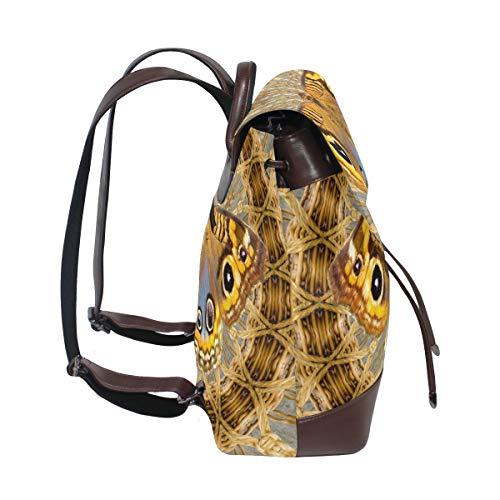 Kvinnor PU-läder korg vävt mönster fjäril ryggsäck handväska resa skola axelväska ledig dagväska
