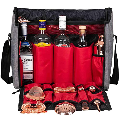 Waterproof Bartender Travel Bag-16 Inch Bar Wine Carrier Set Bag for Travelling Camping-Grey (Bag Only Leather Version)