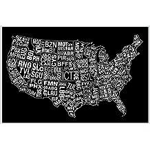 USA Airports Abbreviation Code Black Art Print Poster 12x18