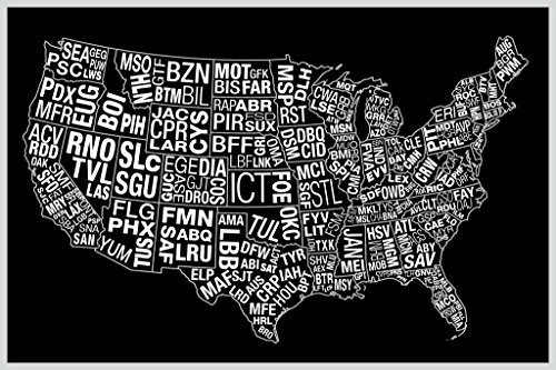 USA Airports Abbreviation Code Black Art Print Poster 12x18 inch ()