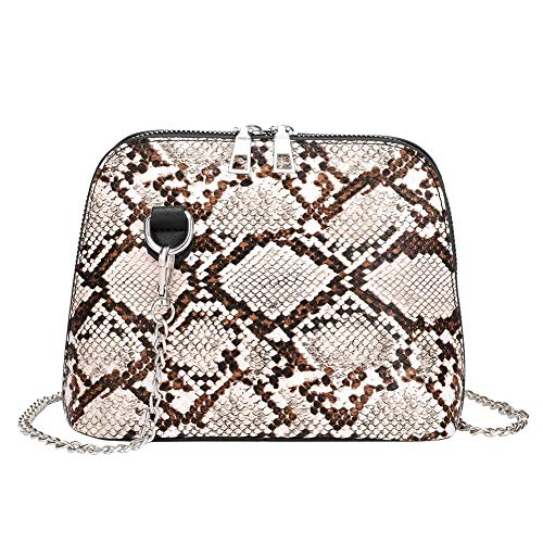 Women's Snake Pattern Small Crossbody Bag - Python Chains Shoulder Handbag - Fashion Snake Skin Design Messenger Bag - Sliver Chain Faux Leather Clutch Purse Evening Pochette