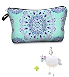 Mandala Cosmetic Bag, Waterproof Travel Make Up Pouch Pencil Case Gift for Girls School with Unicorn Keychain