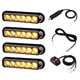 amber led grill strobe lights - AT-HAIHAN 4 in 1 Amber Surface Mount Grill Light Head, 6W Bright LED Mini Strobe Lightbar for POV, Utility Vehicle, Construction Vehicle and Tow Truck Van