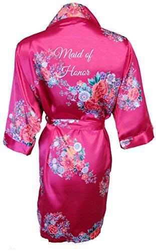 (Women's Fuchsia Floral Satin Bridal Vinyl Print Robe Maid of Honor S/M 4-12)