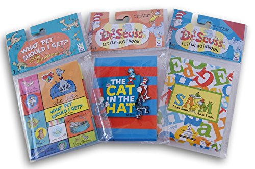 Dr. Seuss Themed Mini Notebook Set - Cat in the Hat, Green Eggs and Ham, and What Pet Should I - Cat Ham