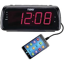 NAXA Electronics NRC-180 Easy-Read Dual Alarm Clock Radio with USB Charge Port, Shiny Black