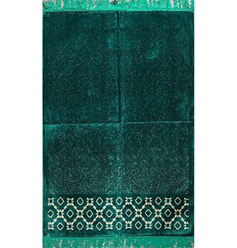 Islamic Prayer Rug Velvet Muslim Namaz Sajjadah Janamaz Turkish Carpet Wide Solid by Islamic Prayer Rug USA