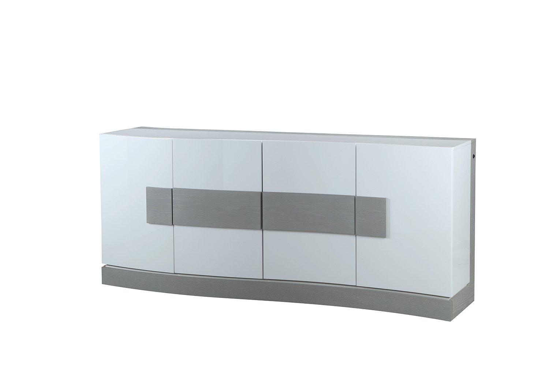 Credenza Moderna Sottile : Mobile credenza bianco e grigio con led 4 ante design moderno
