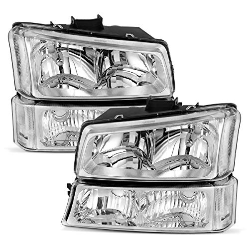 For 2003-2006 Chevy Silverado Headlights & 03-06 Chevrolet Avalanche 1500 2500 I 2007 1500 / 1500HD /2500HD / 3500 Classic Pickup 4-Dr / 2-Dr Clear Side Chrome Housing Headlamps Set, 2-Yr Warranty