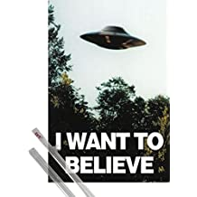 Poster + Hanger: X Files Poster (36x24 inches) I Want To Believe And 1 Set Of Transparent 1art1® Poster Hangers