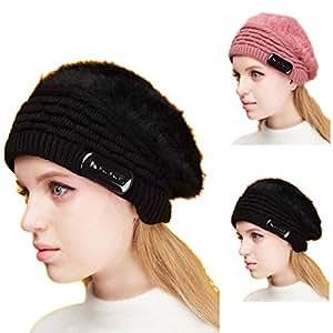 Las mujeres boina sombrero invierno Aukson inteligente de conejo sombrero manoslibres inalámbrico auriculares de música orador Cap para Tablet Celular ... , negro