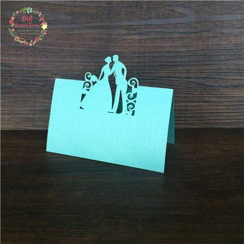 TrustBT Invitations - 40Pcs Bride and Groom Laser Cut Place Cards Wedding Name Cards Guest Name Place Card Wedding Table Decoration Fold Size 9cmx5cm