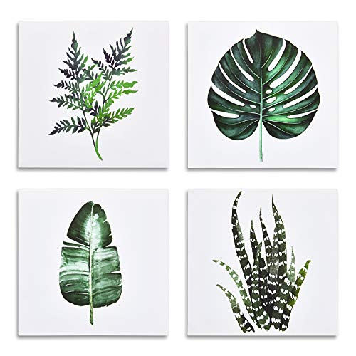 Green Leaf Canvas Wall Art Tropical Plants Picture Artwork 4 Pieces Contemporary Canvas Art Simple Life Minimalist Watercolor Painting of Monstera Palm Banana for Bathroom Living Room Bedroom 12