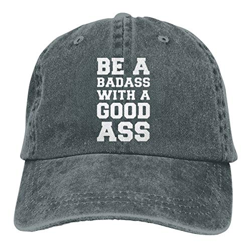 Kemeicle Womens&Mens Be A Badass with A Good Ass Unisex Adjustable Washed Dyed Baseball Caps Deep Heather