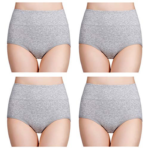 - wirarpa Women's Cotton Underwear High Waisted Full Coverage Brief Panties 4 Pack Ladies Comfort No Muffin Top Underpants Heather Gray, Size 7