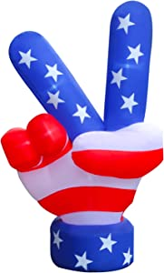 SEASONBLOW 5Ft Patriotic Independence Day 4th of July Inflatable Victory Gesture Decor Home Yard Outdoor Indoor Decoration