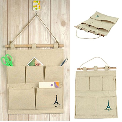 IUNEED Storage Bag 5 pocket wall hanging bags multi-layer fabric debris storage fashion pastoral Cotton Tower style