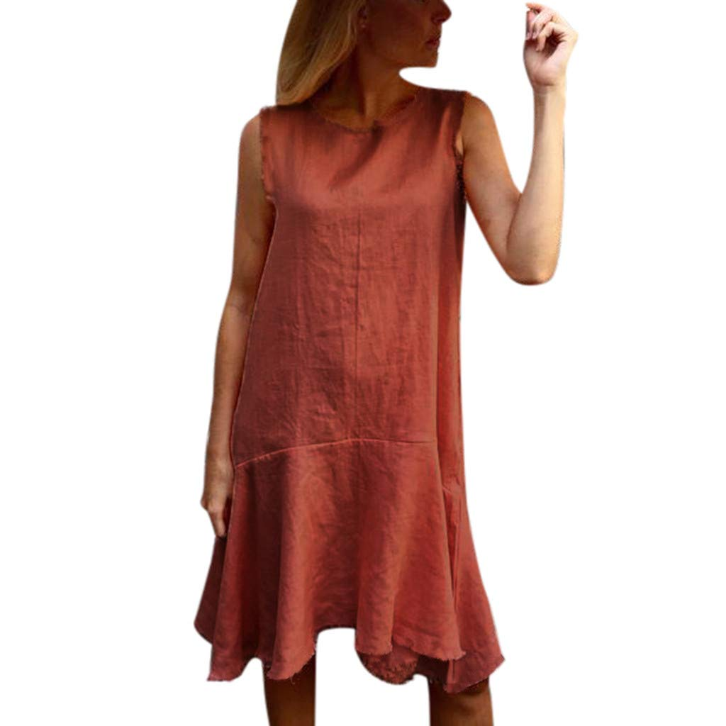 COOKI Women Dresses Casual Sleeveless Basic Boho Dress Vintage Dress Loose Beach Tank T-Shirt Dress Orange
