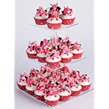 """YestBuy 3 Tier Square Cake Stand (3 Tier Square(6"""" between 2 layers))"""