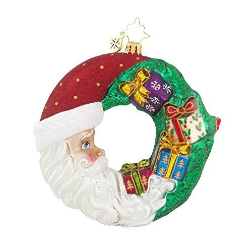 Christopher Radko Cresent Christmas Presents Santa Glass Christmas Ornament - 5