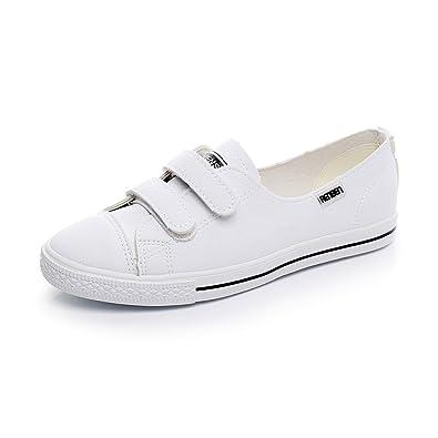 38b59ae39f1c95 Sandales Saison D'été Nouveau Style Velcro Chaussures Blanches Femme  Sauvage Respirant Chaussures Simples Fond