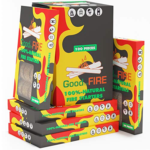 Fire Starter - Fire Starter Squares 100pc - Firewood Kindling - Camp Fire Starter - BBQ Fire Starter - Fire Starters Fireplace - Fire Starter Sticks - Grill Fire Starters - Lump Charcoal Starter (Fireplace Kindling For Good)