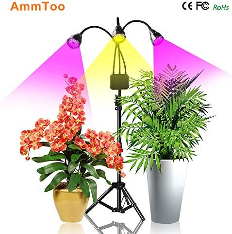 Floor Grow Lights with Stand, AmmToo Full Spectrum Tri-Head 66 LEDs Plant Lights for Indoor Plants- Flexible Gooseneck,3 9 12H Timer,3 Lighting Modes Grow Lamp
