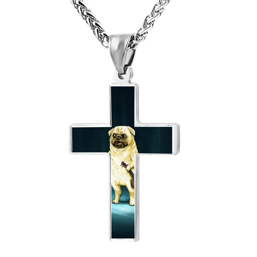 Fashion Space A pug Christian Cross Necklace Religious Jewelry Pendant