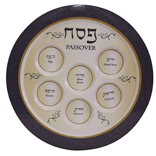 (Melamine Seder Plate for Passover (Blue and Gold) )
