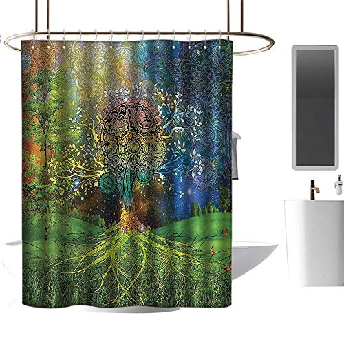 Shower Curtains Thistle Ethnic,Tree in The Valley with Spiral Branch Balance in Mother Earth Zen Art Illustration,Green Blue,W48 x L72,Shower Curtain for ()