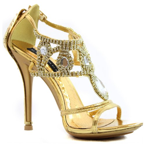 Kvinna Plattform Hög Klack Pumpar Ankelbandet Öppen Tå Glänsande Strass Afton Sandal Mode Skor Guld