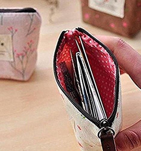 Westeng Porte Sac à 2 Monnaie Zip avec Rose Bleu Femme Petit Mini Main en Toile clair PCS Ur5qU