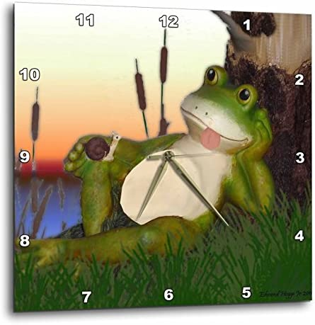 3dRose DPP_28288_3 The Frog and The Snail-Wall Clock, 15 by 15-Inch