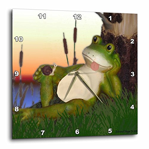 3dRose dpp_28288_3 The Frog and The Snail-Wall Clock, 15 by 15-Inch (Frog Desk Clock)