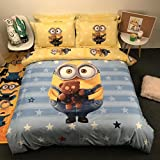 CASA 100% Cotton Kids Bedding Set Boys Minions the First Duvet cover and Pillow cases and Flat sheet,Boys,4 Pieces,King