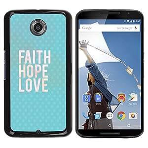 TopCaseStore / la caja del caucho duro de la cubierta de protección de la piel - Happy Love God Blue Text - Motorola NEXUS 6 / X / Moto X Pro