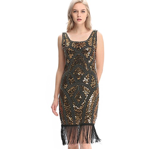 5f61360baef Wuchieal Women s 1920s Flapper Dress Gatsby Long Evening Prom Sequin Party  Dress Size 4-20