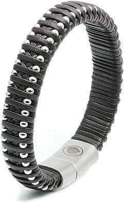 Casisto.J Bracelet homme bracelet cuir homme manchette tress/é /à la main classique noir et brun avec fermoir magn/étique grav/é cadeau bijoux gratuit en bo/îte