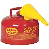 Eagle UI-25-FS Type I Metal Safety Can with F-15 Funnel, Flammables, 11-1/4 Width x 10 Depth, 2-1/2 Gallon Capacity, Red by Eagle